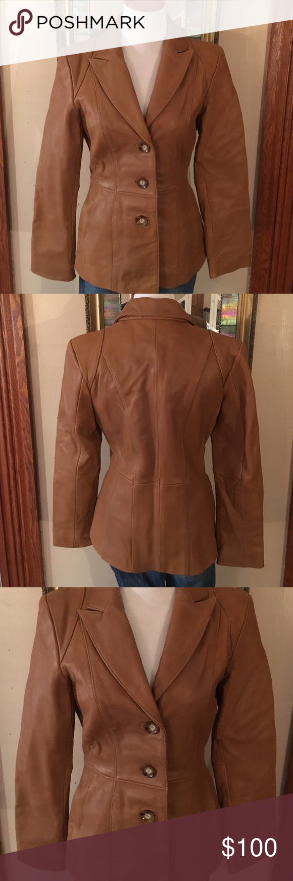 """Lamb skin jacket 100% lamb skin leather jacket. Fully lined. Great used condition. No rips or stains. Two pockets. Length about 25"""", chest flat across about 16"""", sleeve inseam about 18"""" Neiman Marcus Jackets & Coats Blazers"""