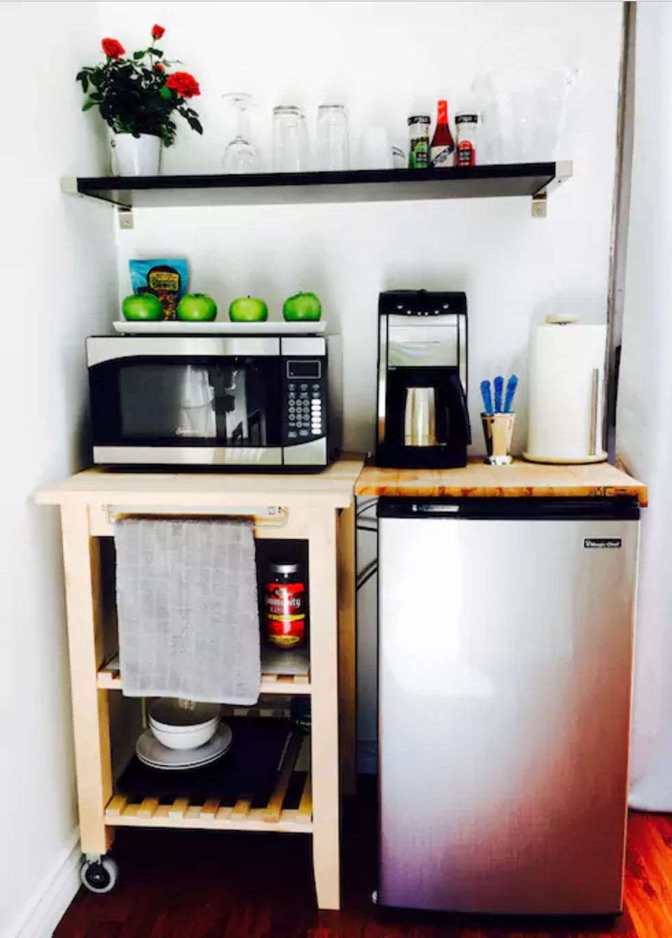 Kitchenette With All The Essentials And Treats Dorm Room Kitchen Kitchenette Design Small Kitchenette