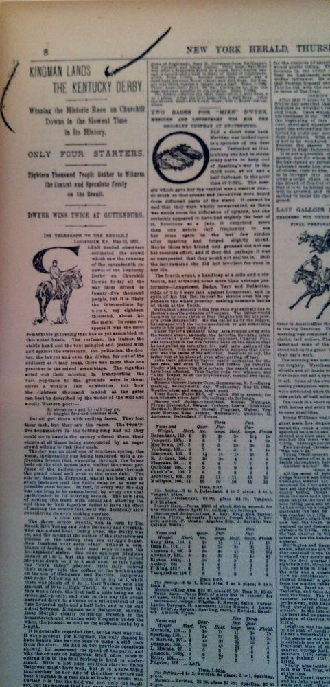 MAY 14, 1891 NEWSPAPER #J5590- HORSE RACING- KINGMAN LANDS THE KENTUCKY DERBY