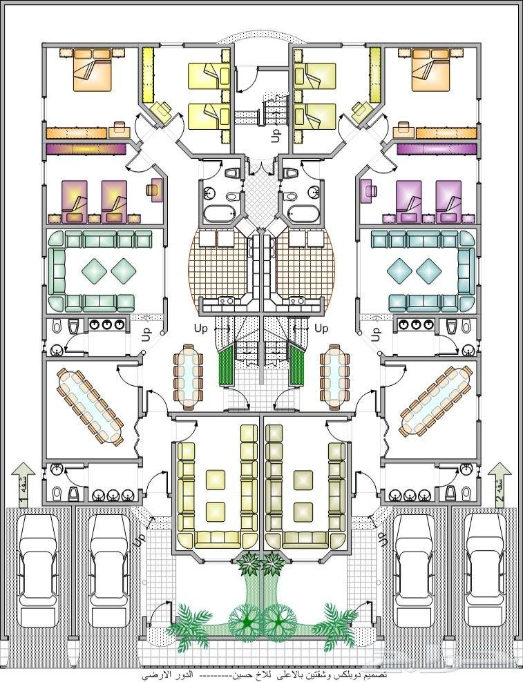 مكتب هندسي رفع مساحي تنظيم كروكي تصميم فلل مباني سكنية تجارية اسواق اشراف New House Plans House Plans Duplex House