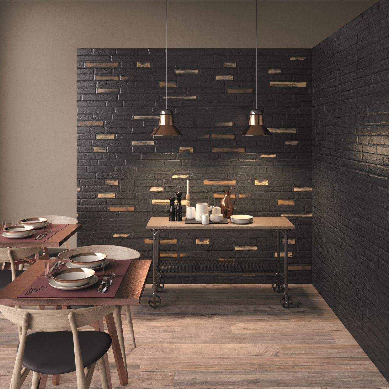 DO UP abkemozioni wall tiles Street black matt 60x120 cm