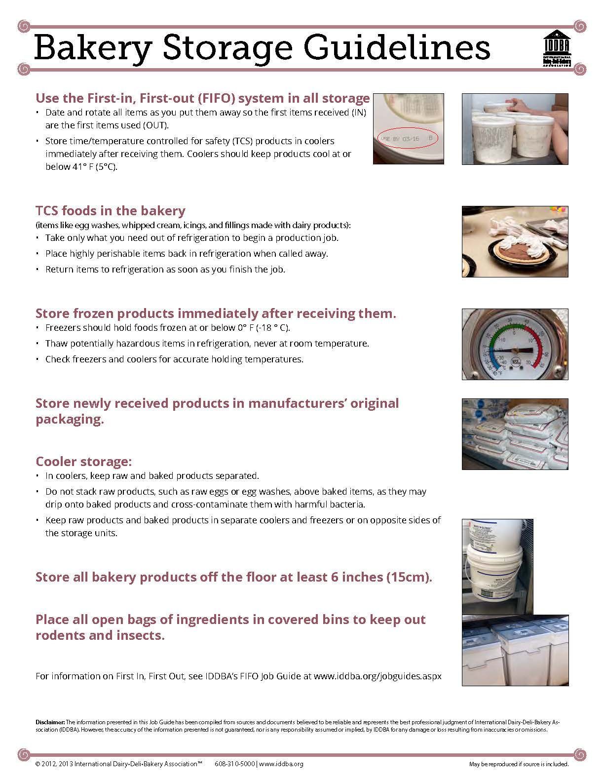 Bakery Storage Guidelines....... Develop your staff
