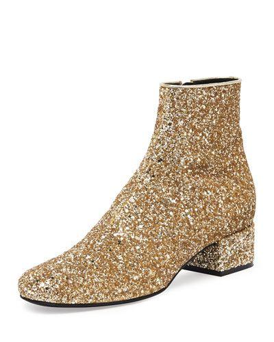 f22b8f924 X2B2J Saint Laurent Mod Glitter Ankle Boot, New Platine | Found at ...
