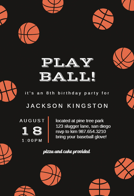 basketball birthday invitation template customize add text and