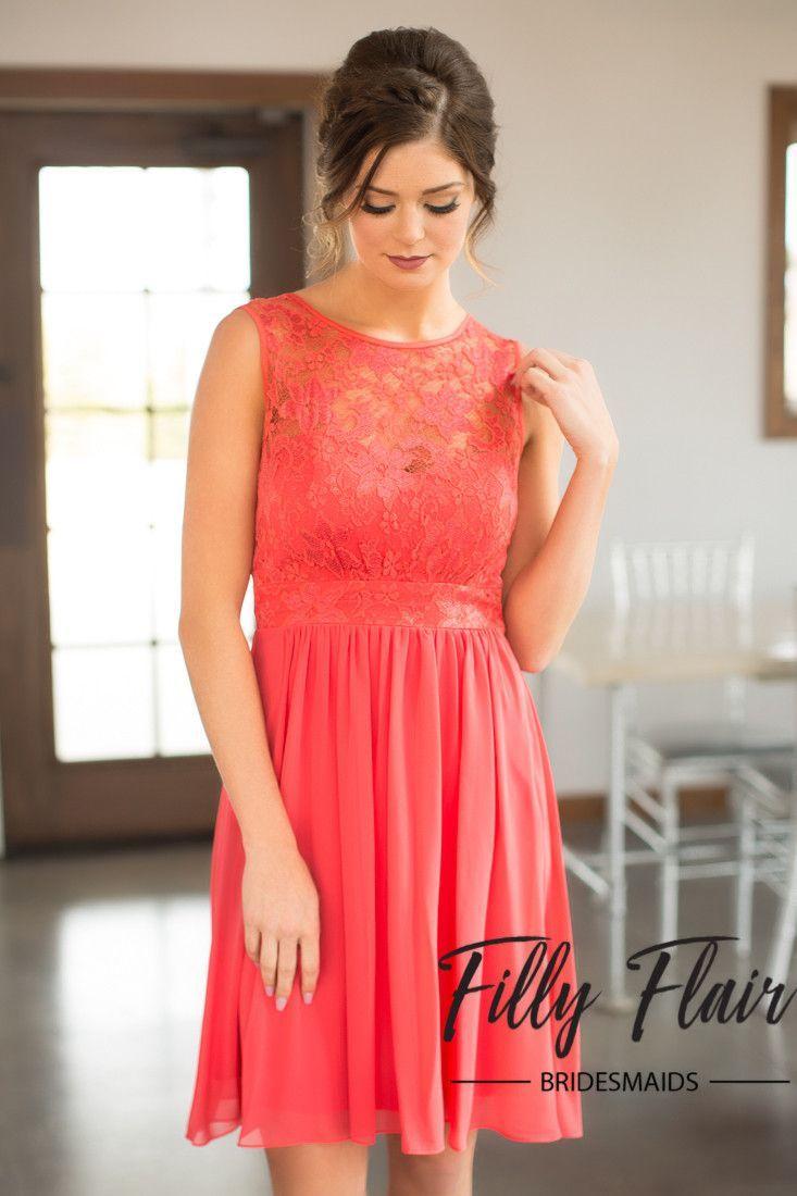 Short Coral Bridesmaid Dresses Bridesmaidflower girlusher