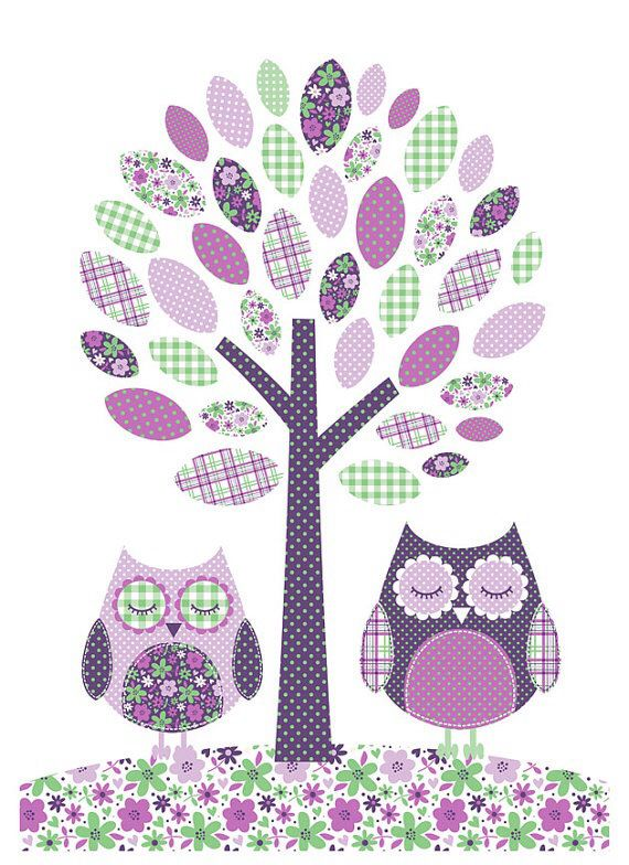 Owls and tree. Bubble Gum Years - ETSY
