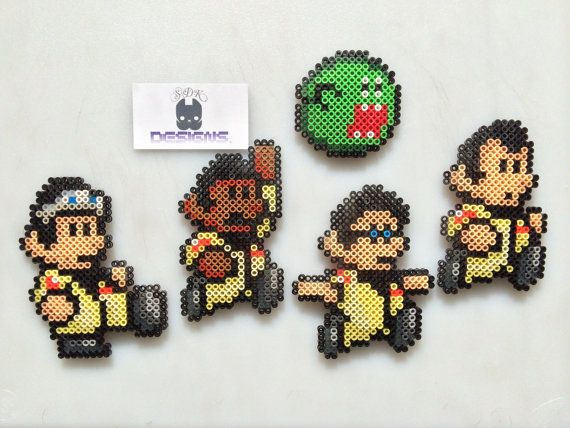 Mario Ghost Busters Perler Bead Art Set 5 Magnet/Pin by SDKD, $28.00