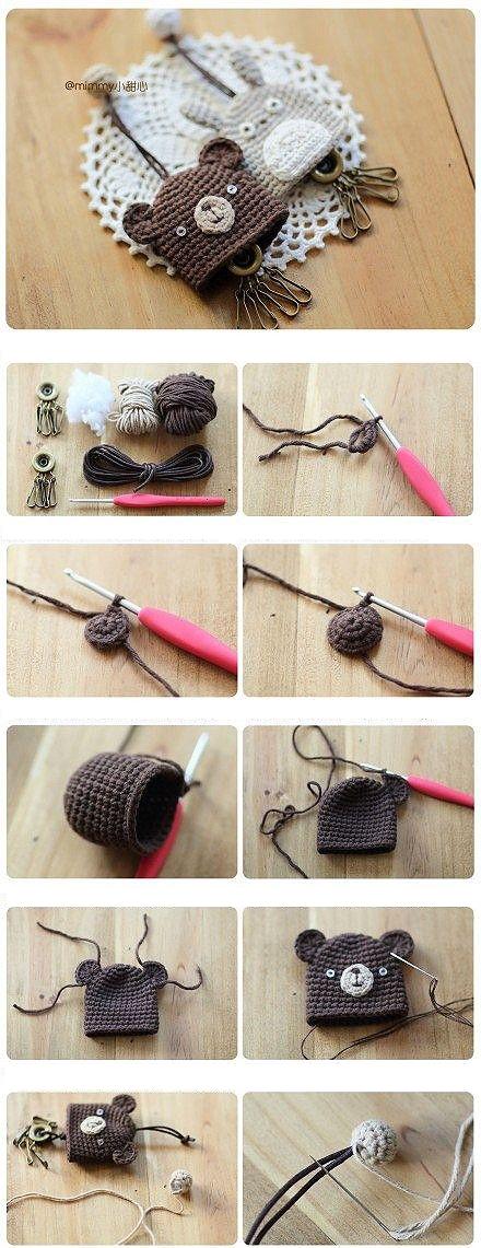 Ourson | Tejidos palillo | Pinterest | Llaveros, Llaveros crochet y ...