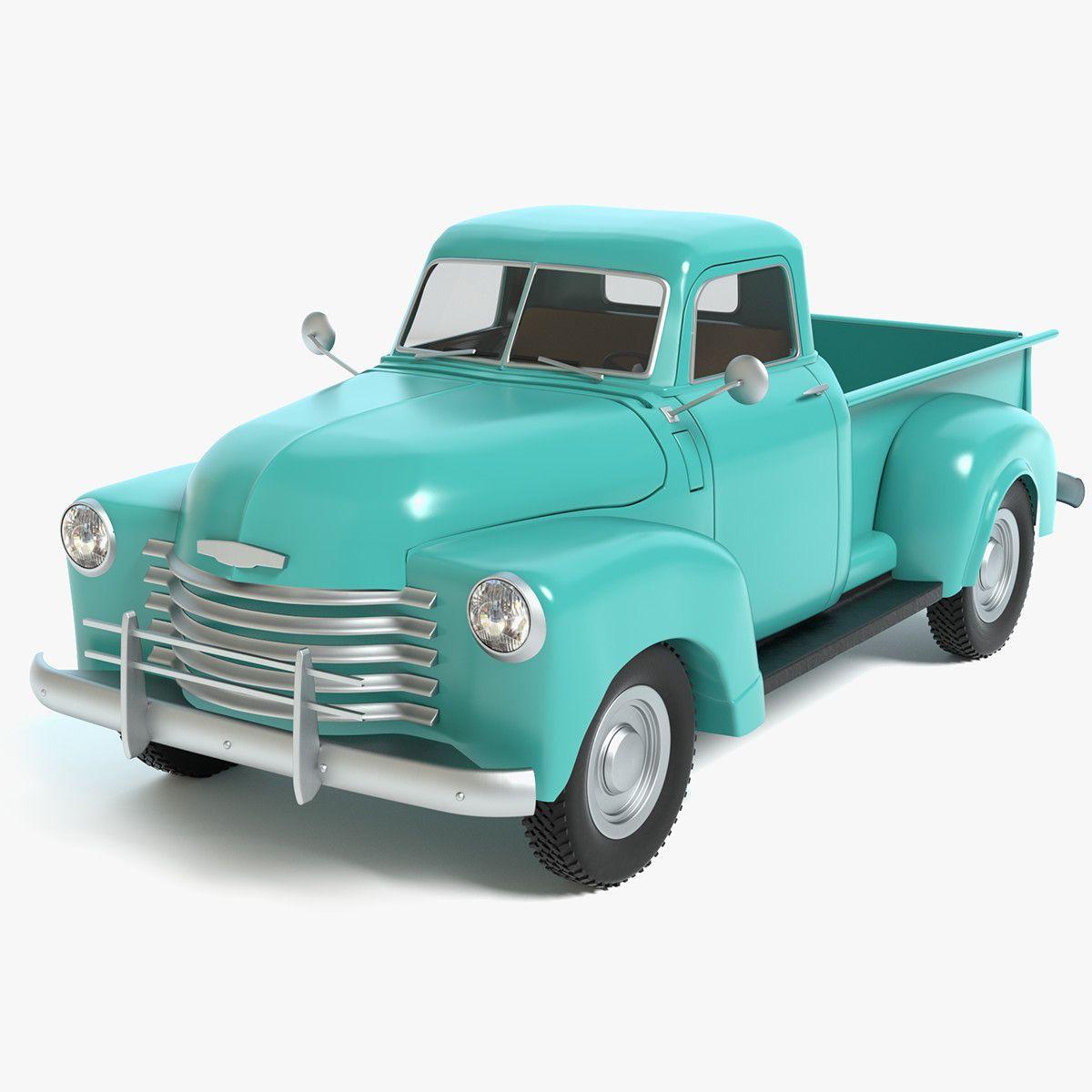 3D Model Old Pickup Truck - 3D Model   3D-Modeling   Pinterest   3d ...