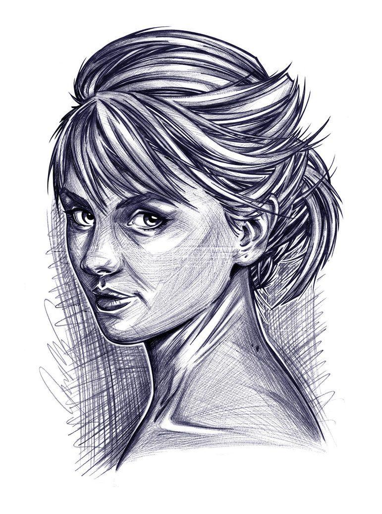 Rachel a ballpoint pen portrait pen and ink wash