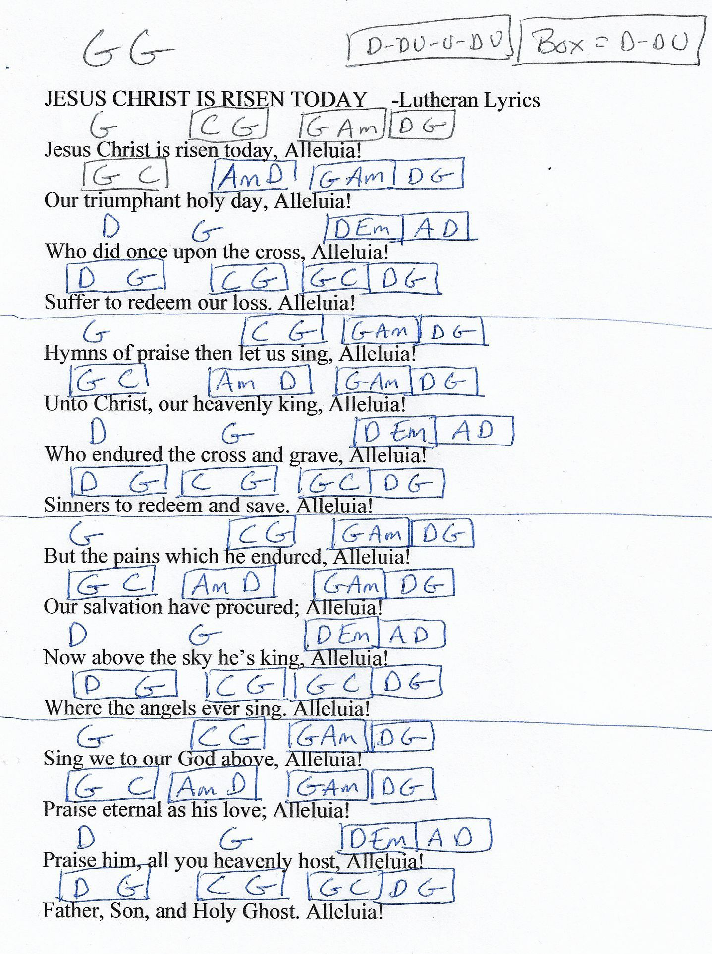 Jesus Christ Is Risen Today Hymn Guitar Chord Chart In G