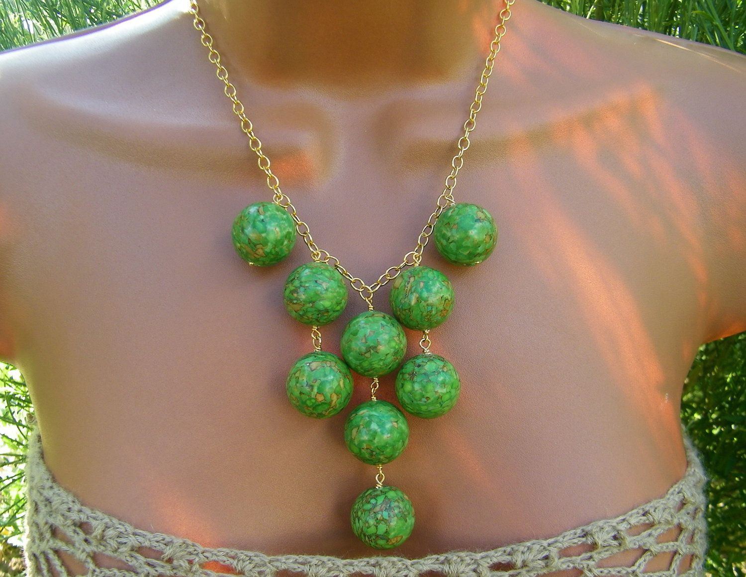 Mosaic Green Turquoise Bib Necklace. Large Grass Green Stone Statement Necklace.. $42.00, via Etsy.