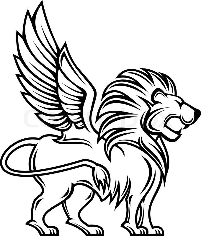 royal rampant lion sillhouette Stock vector of u0027Isolated lion with - fresh coloring pages lion head