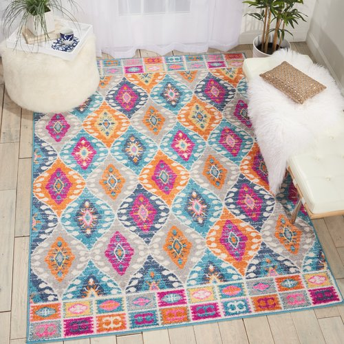 Passion Blue Yellow Pink Rug Longweave Rug Size Rectangle