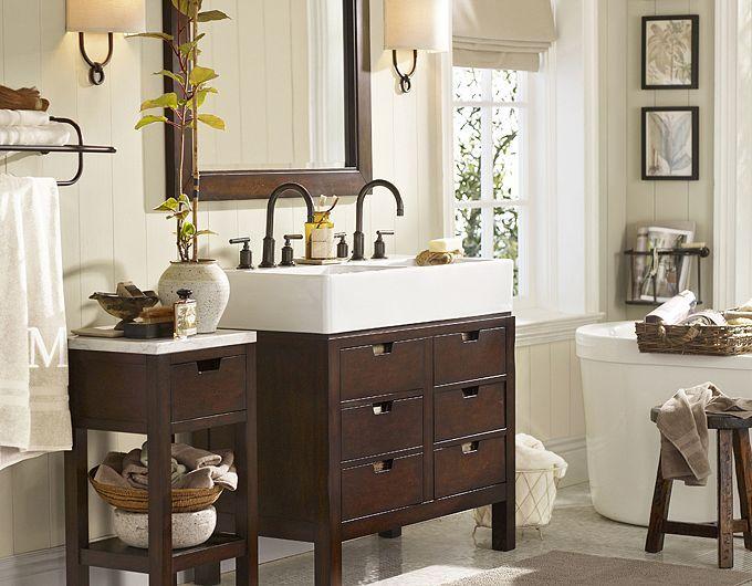 Potterybarn Combination Of Light And Dark Bathroom Decor Double Sink Farm Style Sink