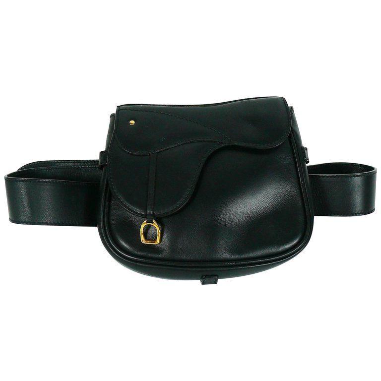 9487988560b Gucci Vintage Convertible Black Leather Saddle Bag Belt