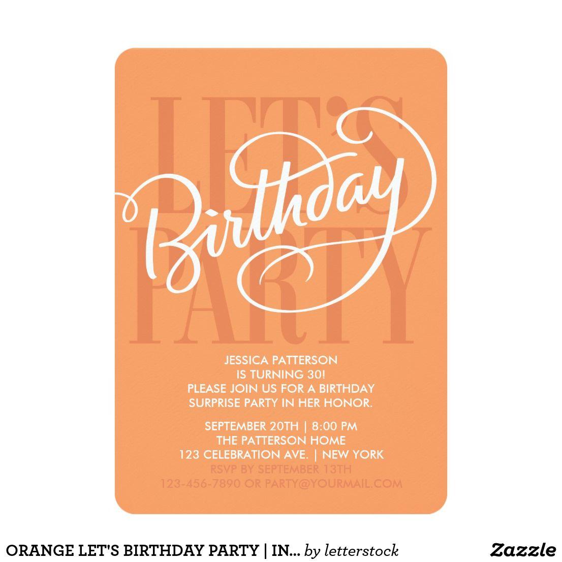 Orange lets birthday party invitation birthday original custom orange lets birthday party invitation birthday original custom hand lettering by letterstock stopboris Image collections