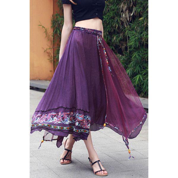 Tulle Overlay Irregular Full Skirt (170 BAM) via Polyvore featuring skirts, tulle overlay skirt, overlay skirt, full tulle skirt, purple skirt and knee length tulle skirt