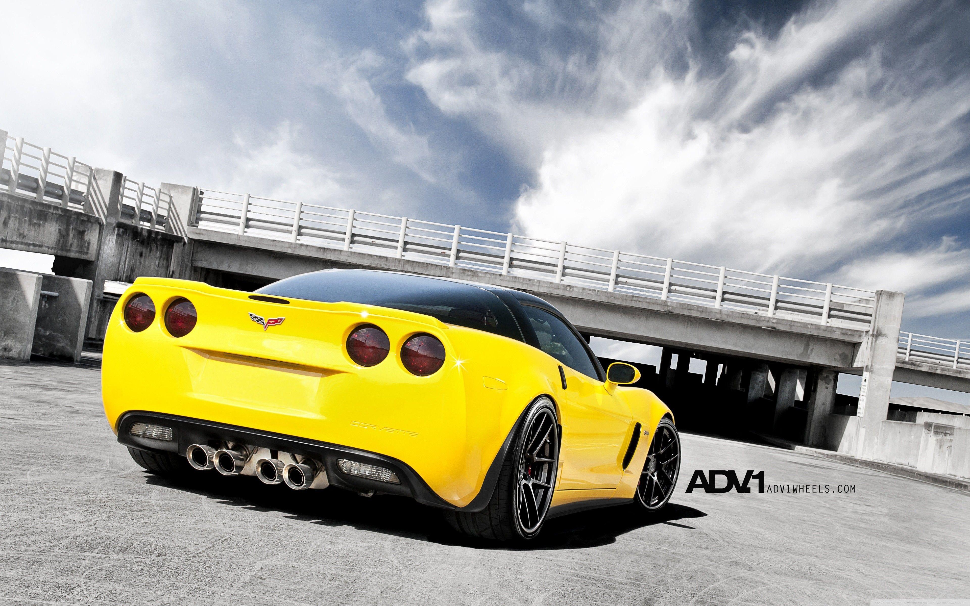 Corvette z06 yellow adv 1 adv1 wheels 3840x2400 z06 yellow adv