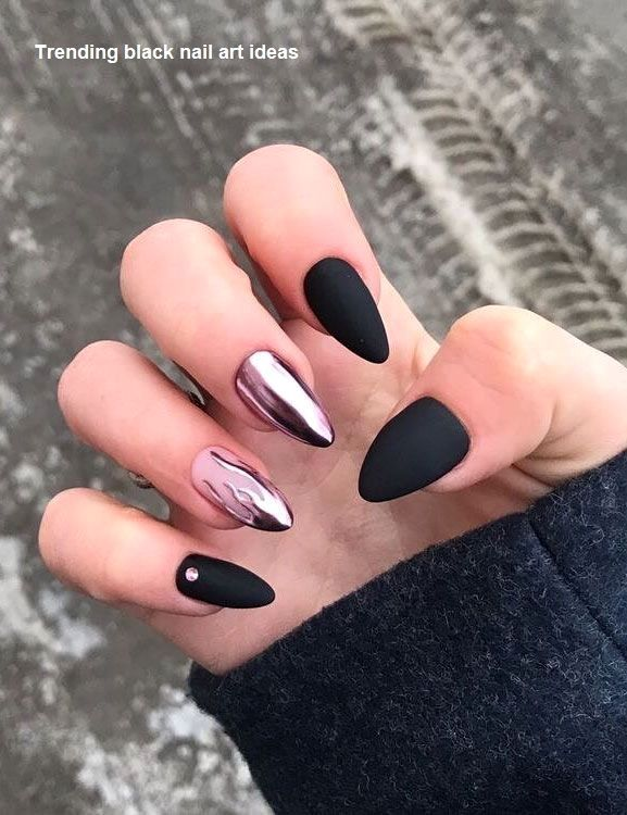 20 Einfache Schwarze Nail Art Design Ideen Blacknails Black Style Nails Art Black Blacknails Desi Fashion Nails Fall Nail Art Designs Nail Designs
