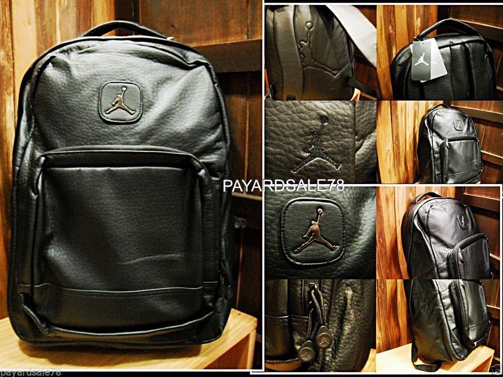 f9f25a0801a6bf NIKE JORDAN FAUX LEATHER BACKPACK LAPTOP STORAGE BAG SCHOOL GYM BOOK BLACK   Nike  Backpack