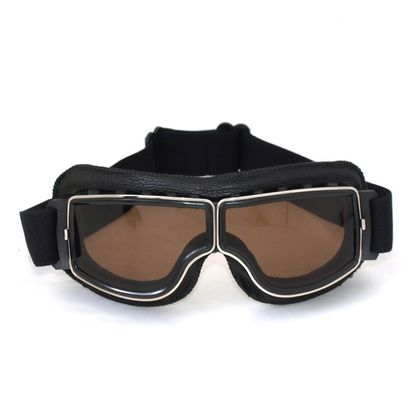Yellow Ski sport pilot goggles with leather side protection
