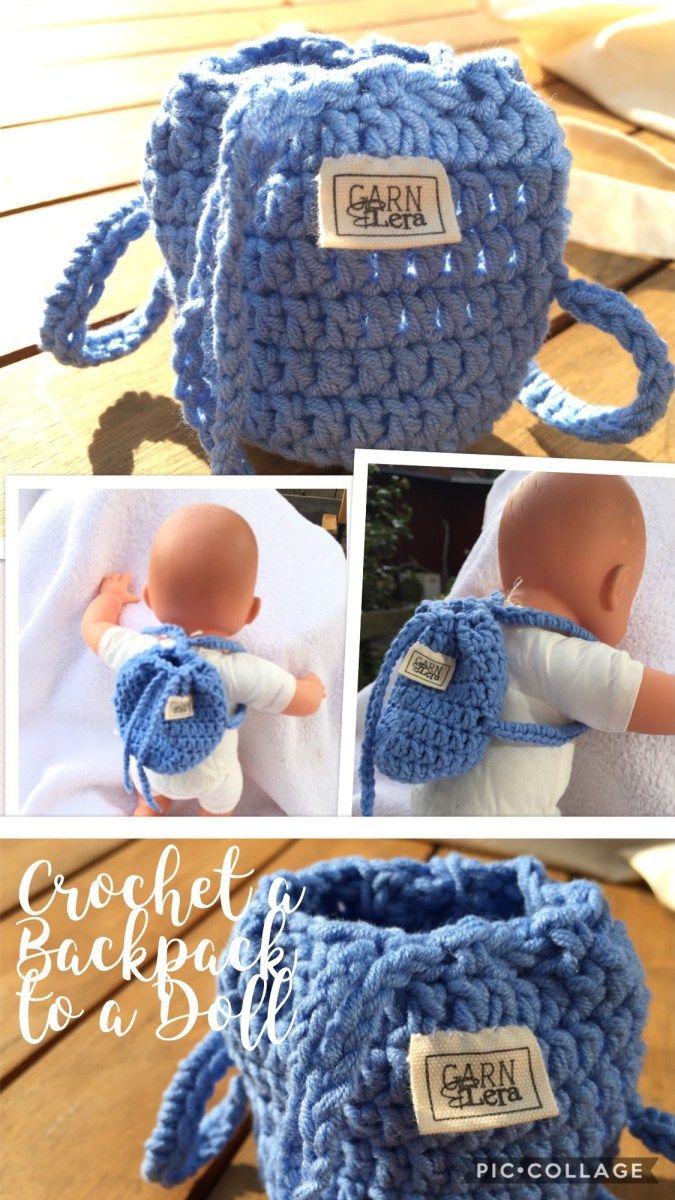 Crochet a Backpack for a doll 20 cm (8 inch) | Pinterest | Belinda ...