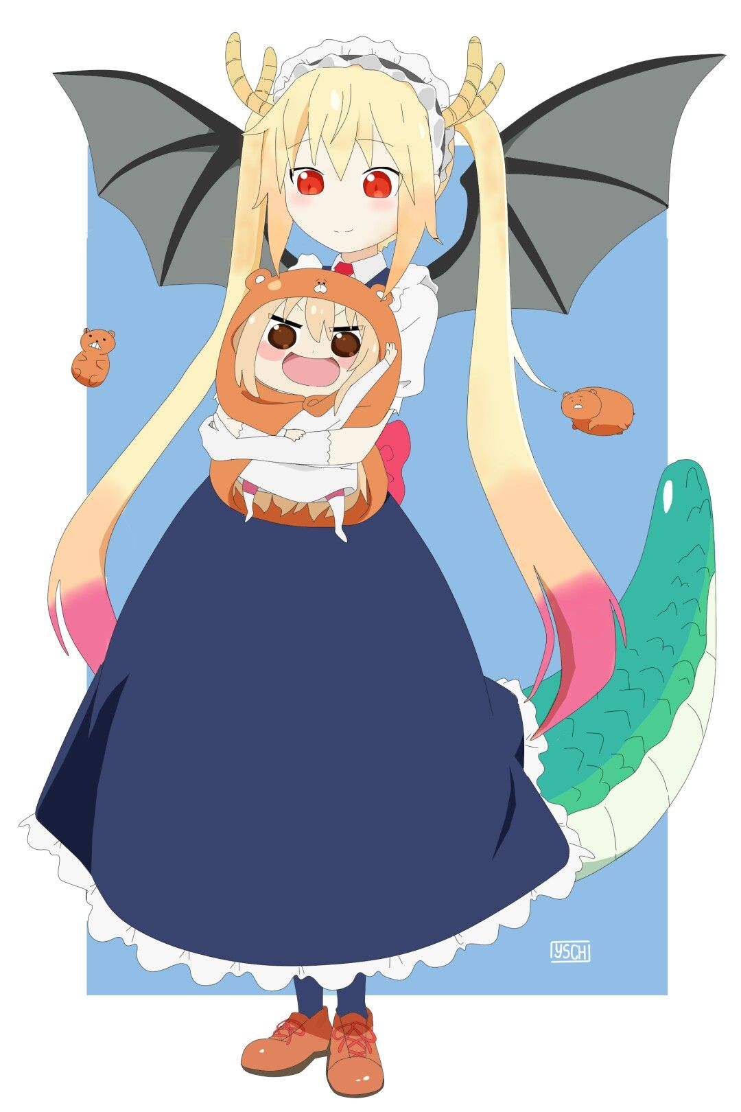 Tohru and umaru chan impruv some picture and ium draw this