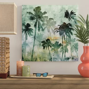 Bay Isle Home Antique Palm Tree Graphic Art Print On Wrapped Canvas Wayfair Palm Trees Painting Tree Watercolor Painting Palm Tree Wall Art