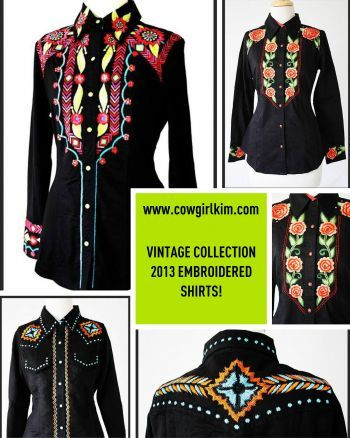 Brands :: Vintage Collection :: VINTAGE COLLECTION FALL 2013 :: WOW! VINTAGE COLLECTION FALL 2013 WESTERN STYLE EMBROIDERED BLACK SHIRT! - Native American Jewelry|Ladies Western Wear|Double D Ranch|Ladies Unique High End Western Fashions