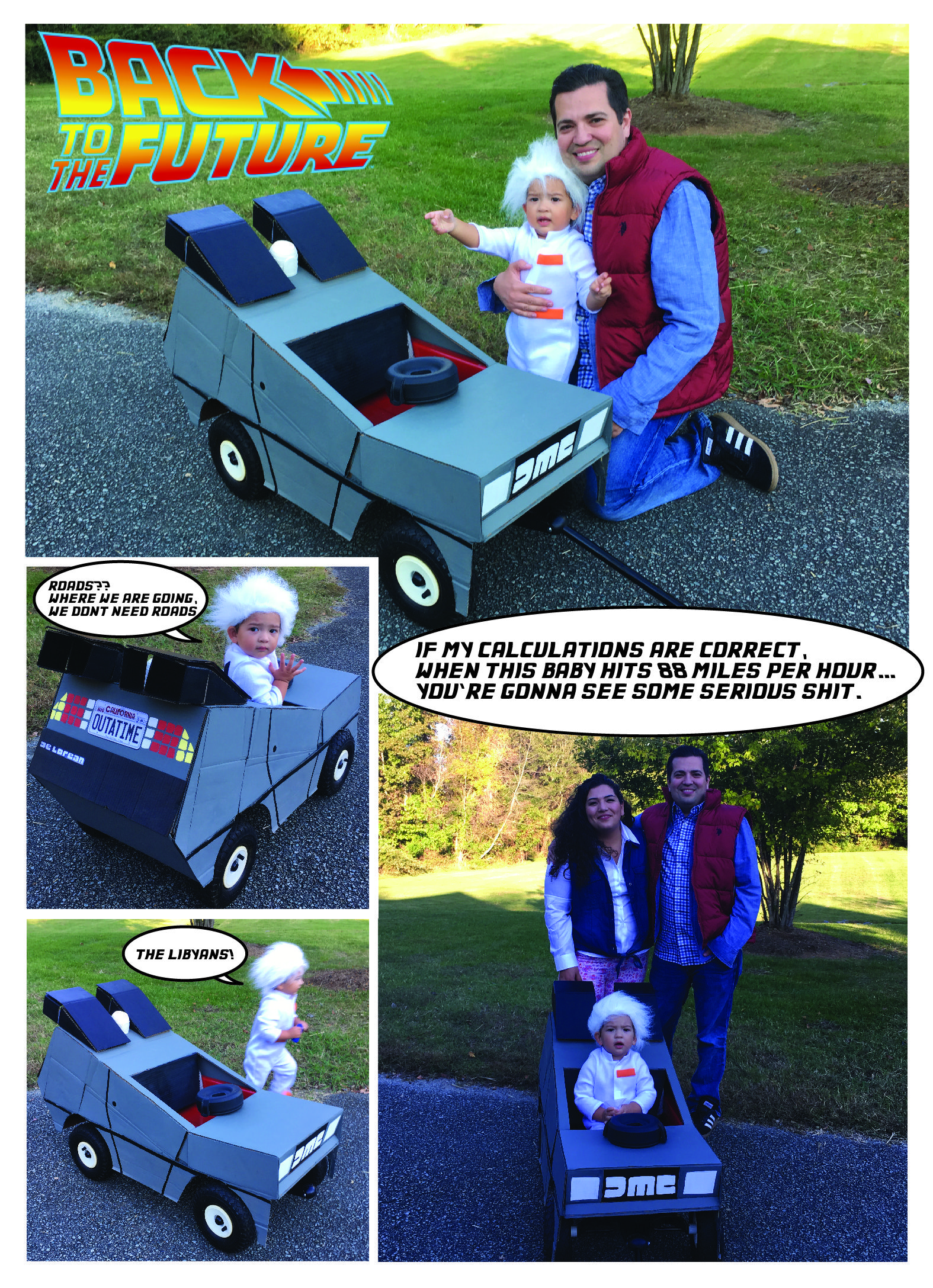 Happy Halloween From The Future Costume Dyi Delorean Time Machine Back To Baby Halloween Costumes Toddler Halloween Costumes Family Themed Halloween Costumes