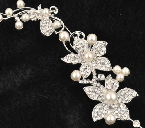 Hot Ladies Bridal Wedding Flower Delicate Pearls Beauty Crystal Chic Headband Hair Clip Comb Jewelry