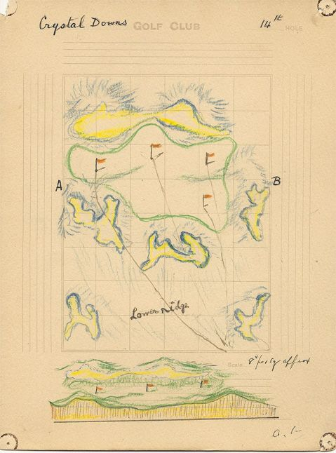 Dr Alister MacKenzie's 14th green concept for Crystal Downs