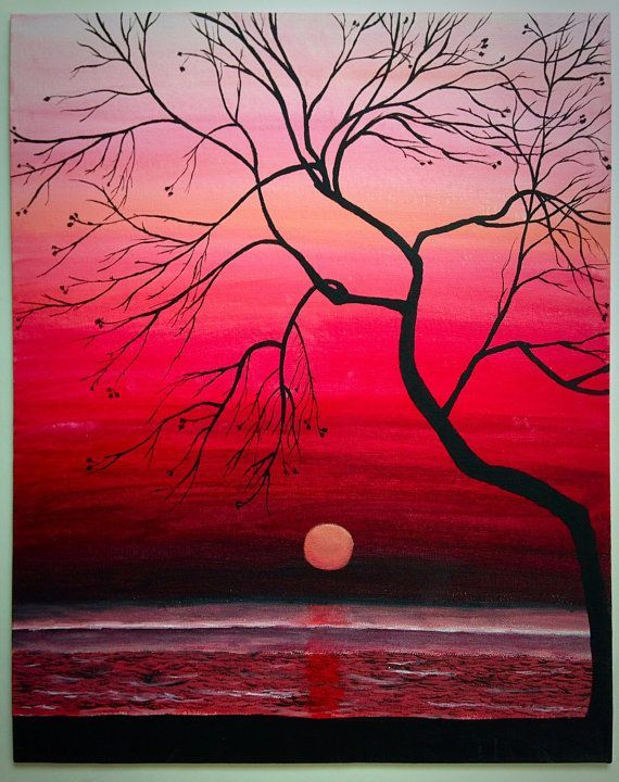 Lovely Original Sunset Painting, 16x12 Wall Art, Large Wall Art, Hand Painted  Sunset Silhouette, Ocean Painting