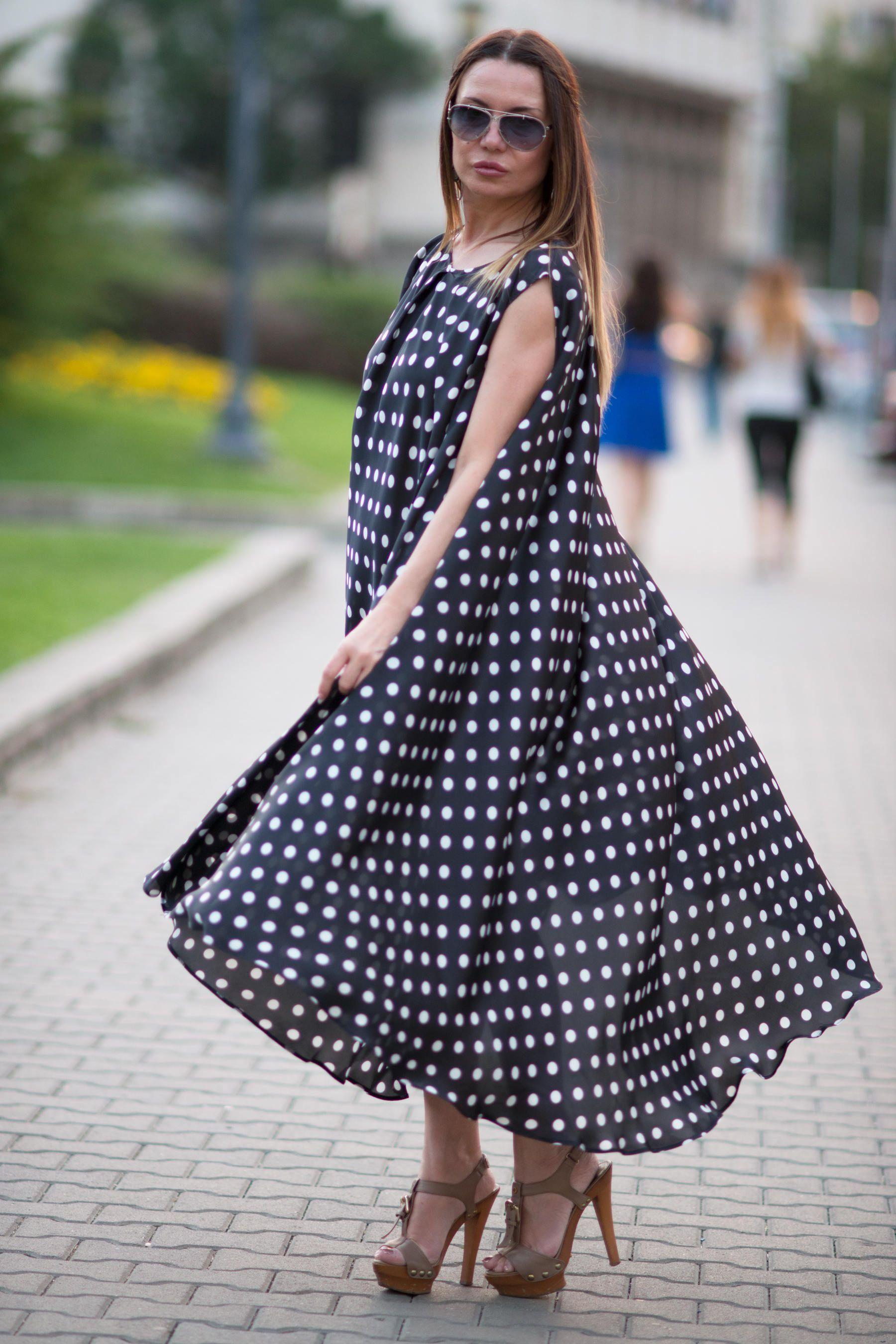 Polka Dots plus size maxi dress, Plus size clothing, Women\'s ...
