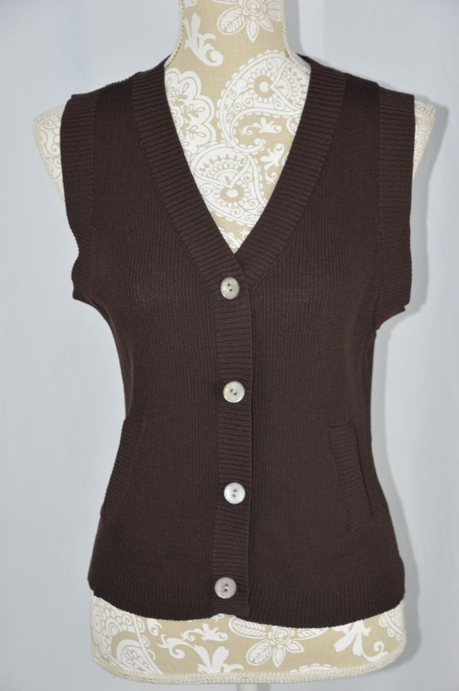 Details about George Womens Large 12/14 Dark Brown Sleeveless ...