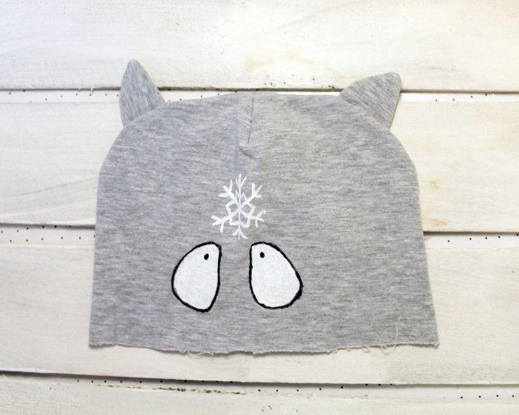 Strick & Wolle - Katze Mütze mit Ohren, Kinder, Schneeflocke, grau - ein Designerstück von ARTandCAT bei DaWanda