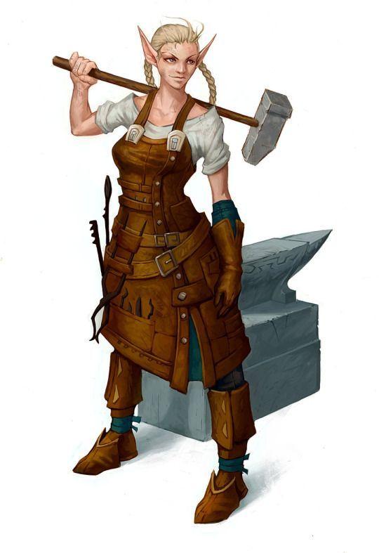 Female Elf Blacksmith  Fantasy Characters, Dungeons, Dragons Characters, Female Elf-4527