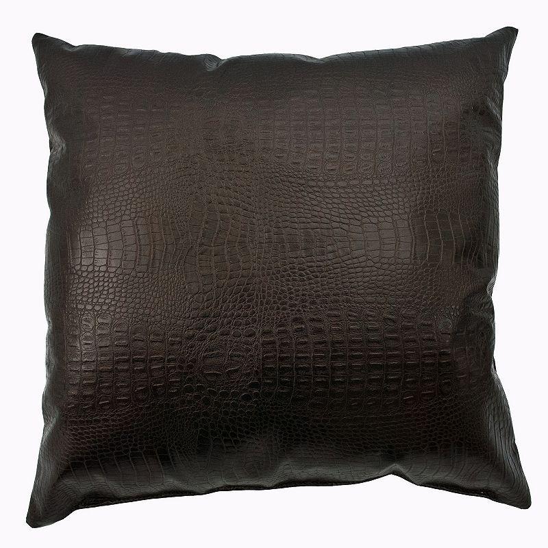 Sherry Kline Caiman Faux Alligator Leather Throw Pillow,