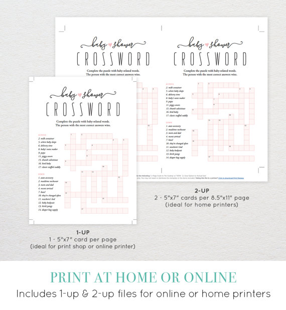 Baby Shower Crossword Puzzle Baby Shower Games Printable Diy
