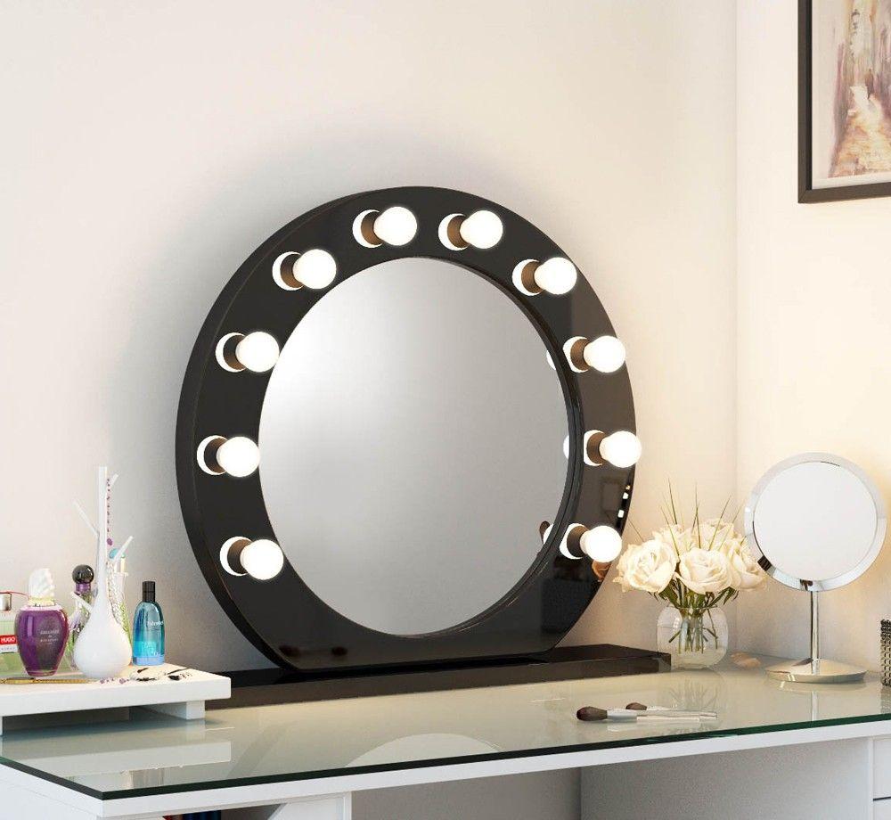 High Gloss Circle Led Hollywood Mirror Black High Gloss