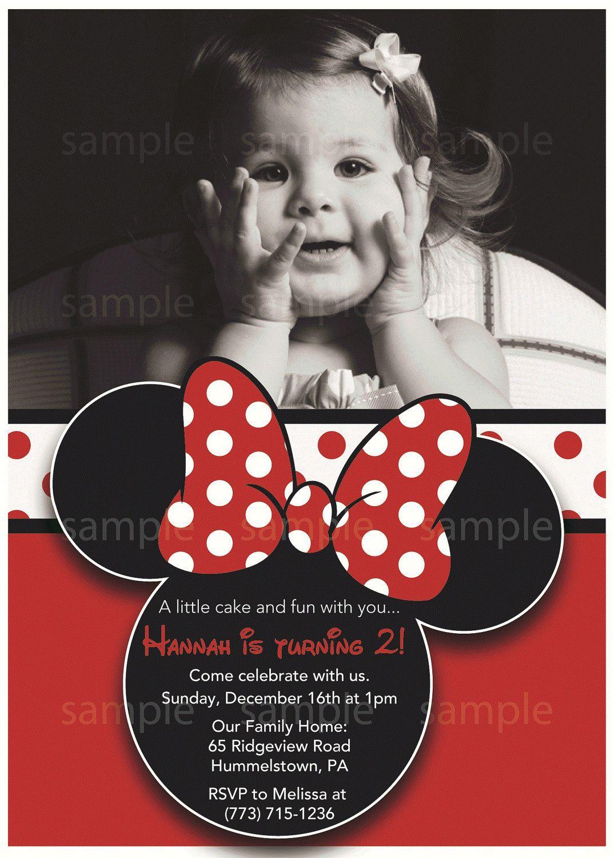 Cute Custom Minnie Mouse Invitation with Photo 3 Red. $9.99, via ...