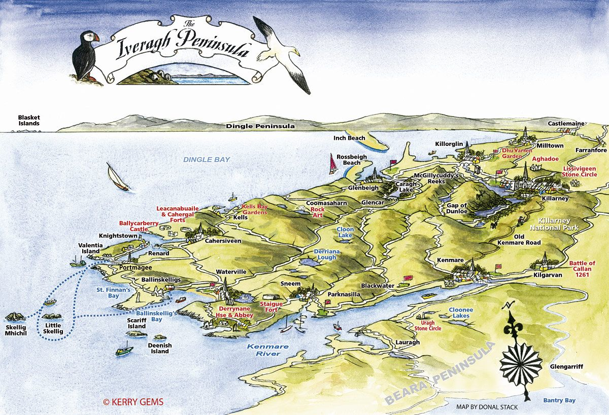 Map Of Ireland Kenmare.Iveragh Peninsula Map Cahersiveen Town Map Kenmare Town Map Valentia