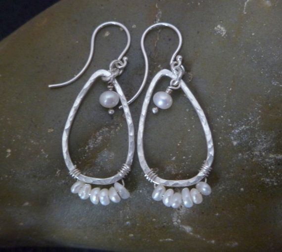 Pearl Earrings - Silver Teardrops - OOAK - Casually Elegant - ready to ship