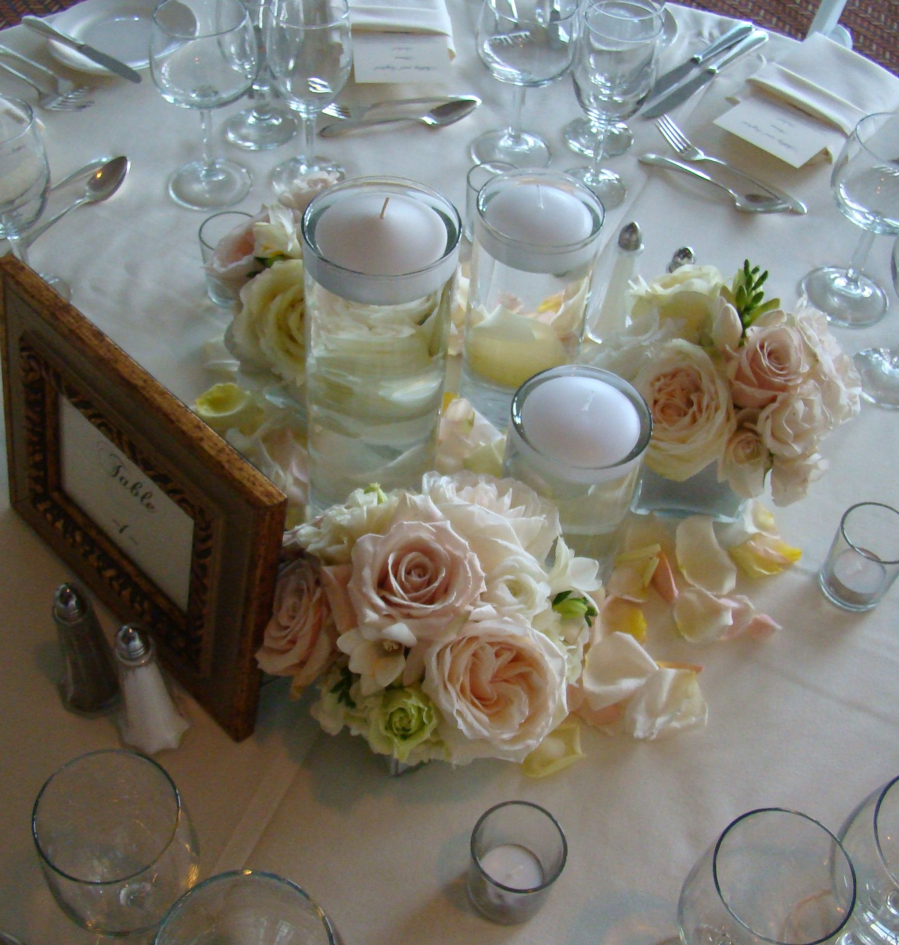 Vermont Wedding Flowers: Floating Candles Surrounded By Blush Garden Rose