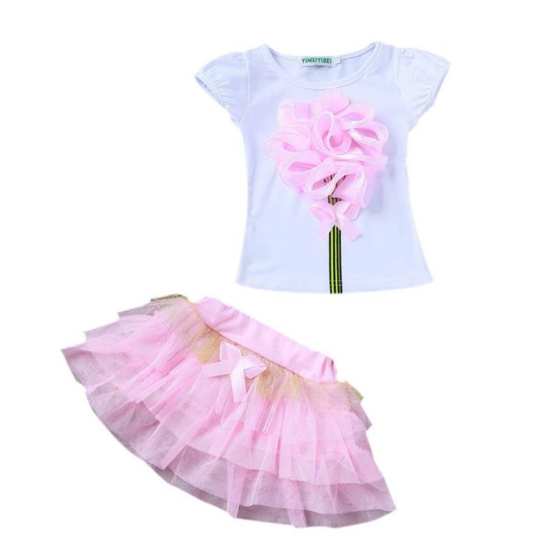 5.52$  Watch here - http://aliuxc.shopchina.info/go.php?t=32800130699 - 4 Colors Baby Girl Skirt Girls Clothing Sets Baby Princess Party Wedding Flower T-Shirt+Mesh Tulle Skirt 2-8Y 5.52$ #aliexpressideas
