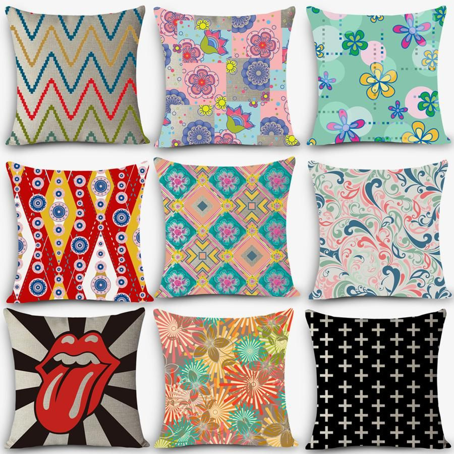 Buy car seat linen throw pillow nordic vintage symphony geometric