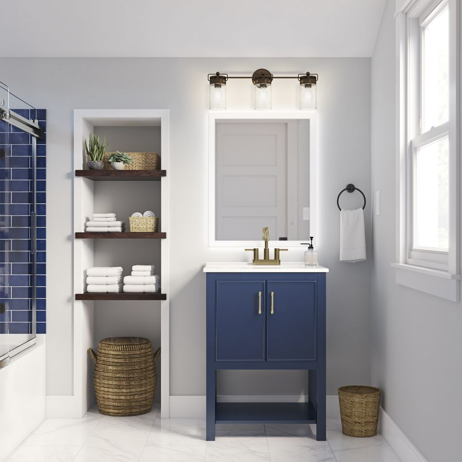 Allen Roth Presnell 24 In Navy Blue Single Sink Bathroom Vanity With White Porcelain Top Lowes Com Single Sink Bathroom Vanity Blue Bathroom Vanity Bathroom Sink Vanity