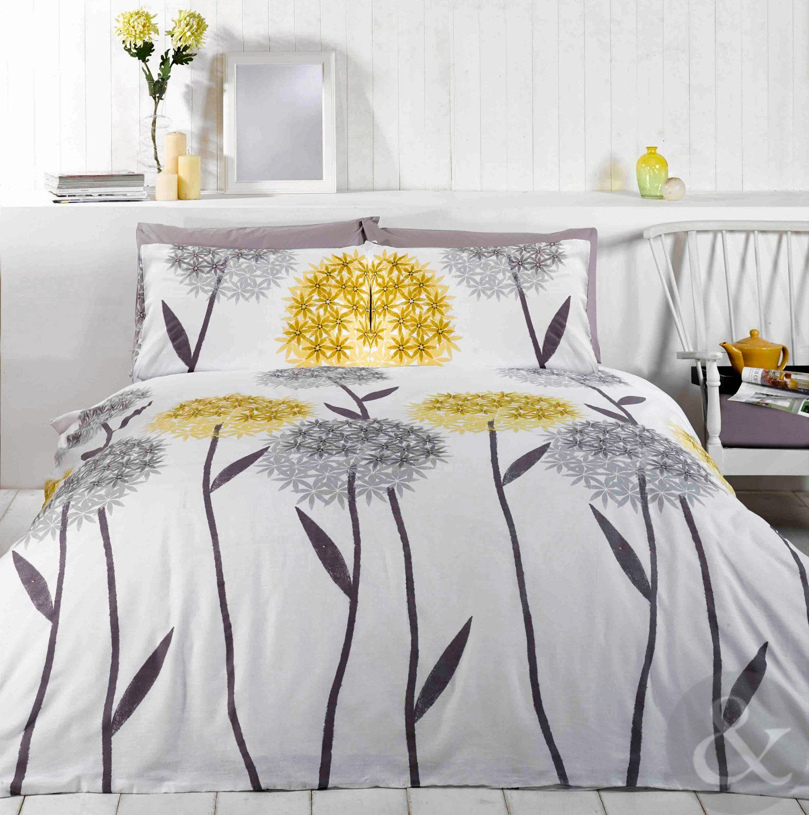 ALLIUM FLORAL DUVET COVER Contemporary Printed White Yellow & Grey