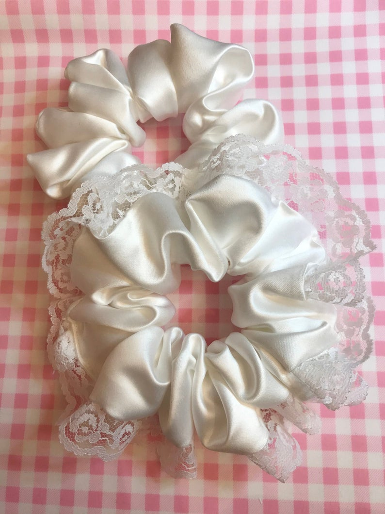 Bridal white duchess satin lace scrunchies tie elastic hairband communion ballet ballerina bridesmaids victoriana wedding Sweet Lolita